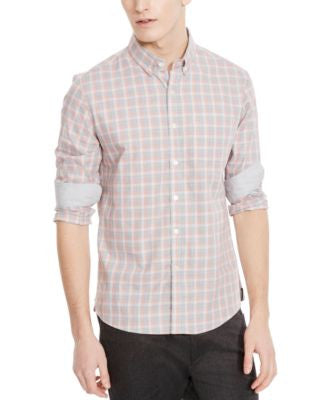 Kenneth Cole New York Men's Slim-Fit Plaid Long-Sleeve Shirt
