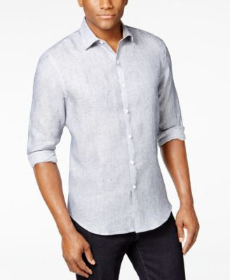 Tasso Elba Men's Marbled 100% Linen Long-Sleeve Shirt, Only at Vogily