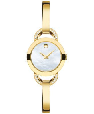 Movado Women's Swiss Rondiro Diamond Accent Gold-Tone PVD Stainless Steel Bangle Bracelet Watch 22mm