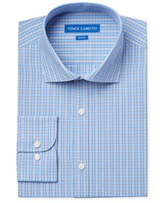 Vince Camuto Slim-Fit Blue Check Dress Shirt