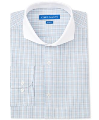 Vince Camuto Slim-Fit Teal Check with Contrast Collar Dress Shirt