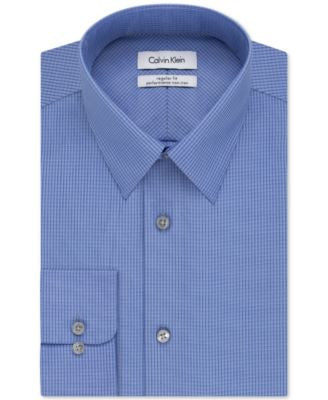 Calvin Klein STEEL Classic-Fit Non-Iron Performance Blue Micro Check Dress Shirt