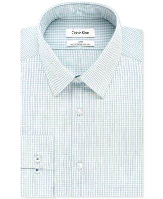 Calvin Klein STEEL Slim-Fit Non-Iron Performance Multi Check Dress Shirt