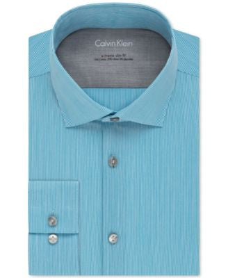 Calvin Klein X Extra Slim-Fit Stretch Pool Fineline Stripe Dress Shirt