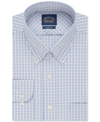 Eagle Slim-Fit Non-Iron Blue and Yellow Check Dress Shirt