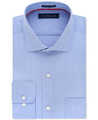 Tommy Hilfiger Non-Iron Blue Fineline Stripe Dress Shirt