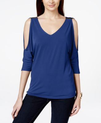INC International Concepts V-Neck Cold-Shoulder Top, Only at Vogily