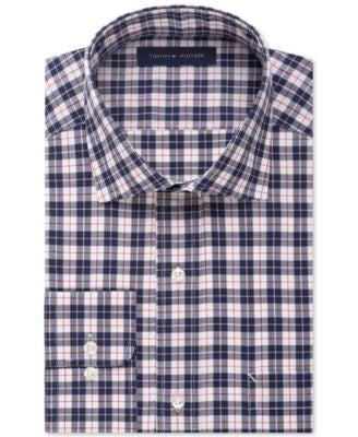 Tommy Hilfiger Non-Iron Dark Navy Plaid Dress Shirt