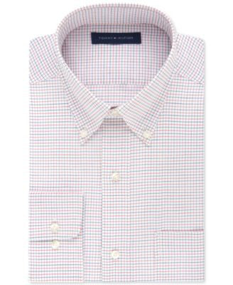 Tommy Hilfiger Classic-Fit Non-Iron Red and Blue Tattersal Dress Shirt