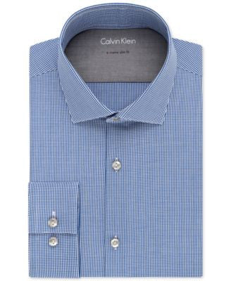 Calvin Klein X Extra Slim-Fit Stretch Blue Gingham Dress Shirt