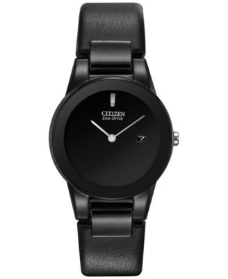 Citizen Women's Eco-Drive Axiom Black Leather Strap Watch 30mm GA1055-06E