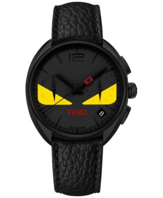 Fendi Timepieces Unisex Swiss Chronograph Momento Fendi Bugs Black Leather Strap Watch 40mm F2146115