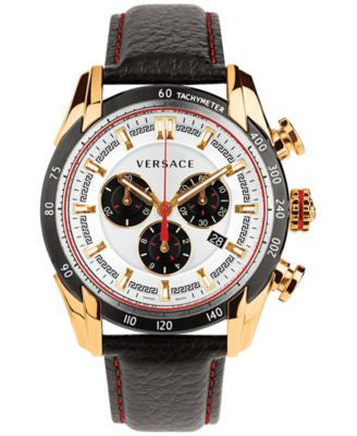 Versace Men's Swiss Chronograph V-Ray Black Leather Strap Watch 44mm VDB040014