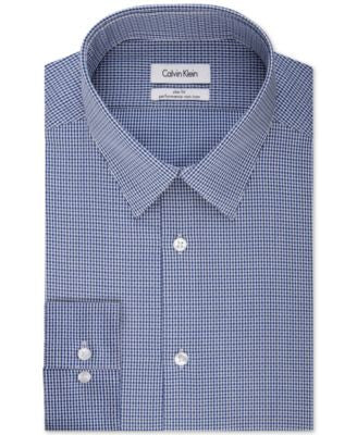 Calvin Klein STEEL Slim-Fit Performance Night Blue Check Dress shirt