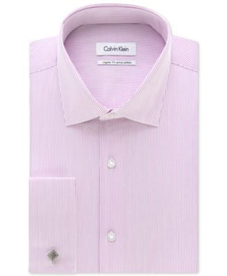 Calvin Klein STEEL Classic-Fit Non-Iron Performance Grape Soda Stripe French Cuff Dress Shirt