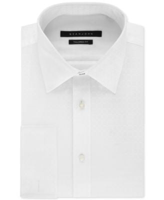 Sean John White Textured Solid French Cuff Dress Shirt