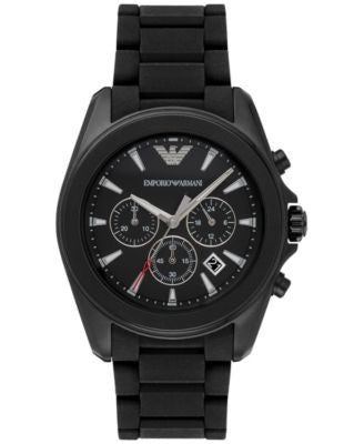 Emporio Armani Men's Chronograph Sigma Black Silicone Strap Watch 44mm AR6092