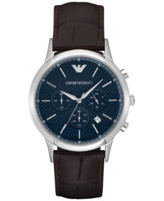Emporio Armani Men's Automatic Chronograph Renato Dark Brown Leather Strap Watch 43mm AR2494