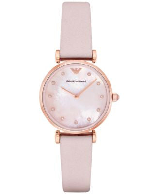 Emporio Armani Women's Gianni T-Bar Pink Leather Strap Watch 32mm AR1958