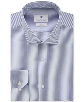 Ryan Seacrest Distinction Slim-Fit Non-Iron Sapphire Heather Stripe French Cuff Dress Shirt