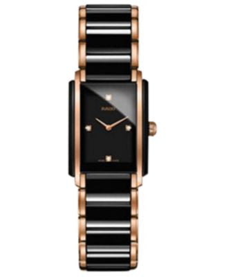 Rado Women's Swiss Integral Diamond Accent Two-Tone Stainless Steel & Ceramic Bracelet Watch 22x33mm