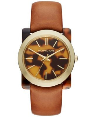 Michael Kors Women's Kempton Tan Leather Strap Watch 39mm MK2484