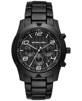 Michael Kors Men's Chronograph Caine Black Stainless Steel Bracelet Watch 45mm MK8473