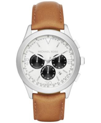 Michael Kors Men's Chronograph Gareth Tan Leather Strap Watch 43mm MK8470