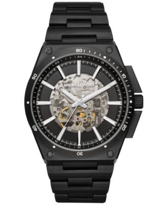 Michael Kors Men's Automatic Wilder Black Ion-Plated Stainless Steel Bracelet Watch 44mm MK9023
