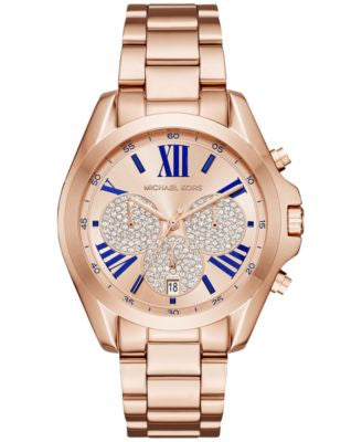 Michael Kors Women's Chronograph Bradshaw Rose Gold-Tone Stainless Steel Bracelet Watch 38mm MK6321