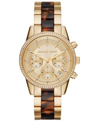 Michael Kors Women's Chronograph Ritz Gold-Tone Stainless Steel and Tortoise-Look Bracelet Watch 37m