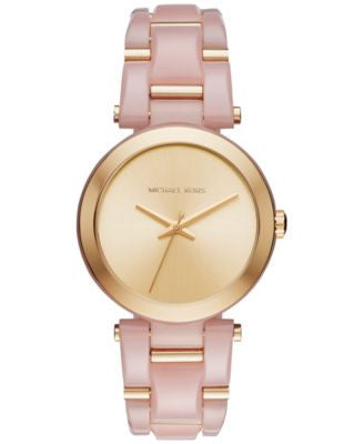 Michael Kors Women's Delray Gold-Tone Stainless Steel and Blush Acetate Bracelet Watch 36mm MK4316