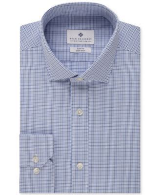 Ryan Seacrest Distinction Slim-Fit Non-Iron New Navy Check Dress Shirt