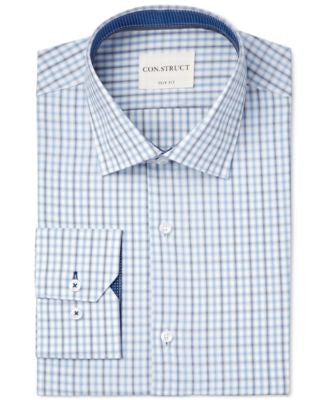 Con.Struct Men's Slim-Fit Blue Check Dress Shirt