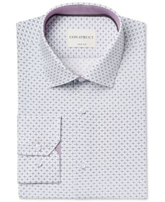 Con.Struct Men's Slim-Fit Cream Diagonal Cross Print Dress Shirt