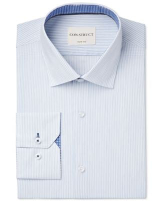 Con.Struct Men's Slim-Fit Light Blue Stripe Dress Shirt