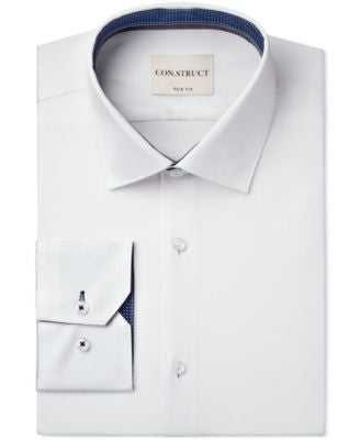Con.Struct Slim-Fit White Solid Dress Shirt
