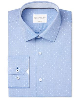 Con.Struct Men's Slim-Fit Blue Oxford Dot Dress Shirt