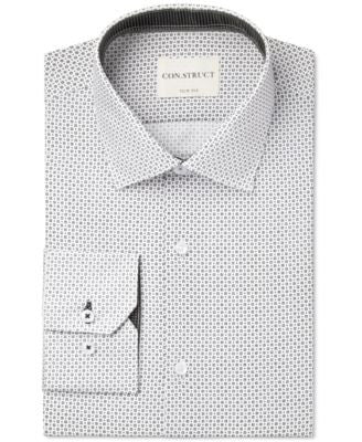 Con.Struct Slim-Fit Black and White Square Print Dress Shirt