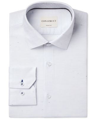 Con.Struct Slim-Fit White Donegal Oxford Dress Shirt