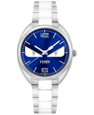Fendi Timepieces Women's Swiss Momento Fendi Bugs Diamond Accent Two-Tone Stainless Steel and Cerami