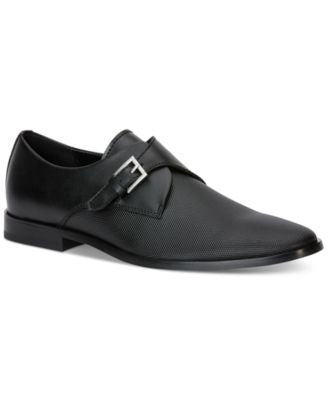 Calvin Klein Norm Textured Leather Monk Strap Shoes
