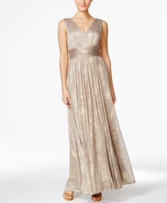 Calvin Klein Empire-Waist Metallic Gown