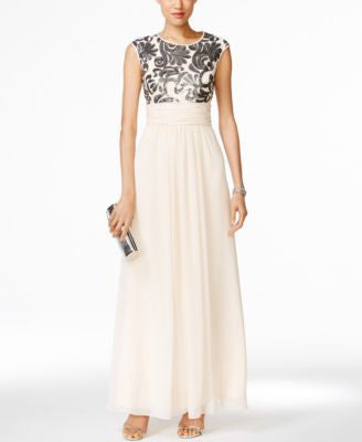 Vince Camuto Sequined Chiffon Gown