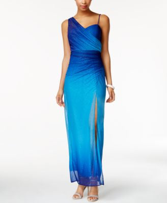 Onyx Glitter-Chiffon Ombre Gown