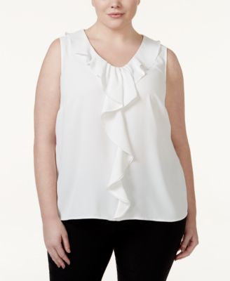 Nine West Plus Size Ruffle-Trim Sleeveless Blouse