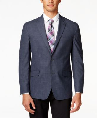 Kenneth Cole Reaction Men's Navy Checked Slim-Fit Sport Coat