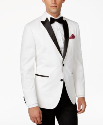 BAR III Men's Satin-Lapel Slim-Fit White Dinner Jacket, Only at Vogily