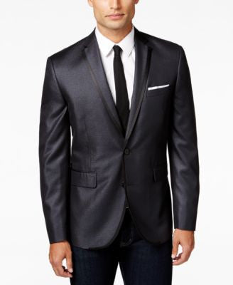 BAR III Men's Black Shiny Slim-Fit Dinner Jacket, Only at Vogily