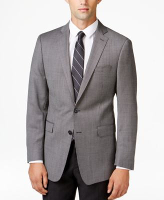 Calvin Klein Men's Grey Neat Slim-Fit Sport Coat